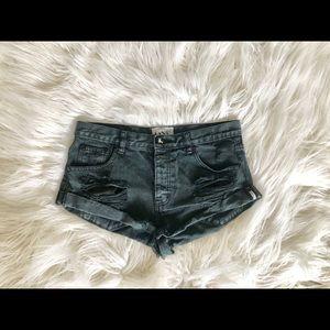 One Teaspoon Bandit Shorts Faded Black Size 28